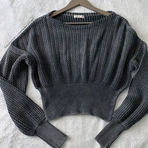 Grey + Charcoal Toned Acid Wash Cropped Sweater